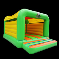 Green Commercial Bounce House With Slide