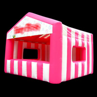 Pink and white inflatable tent