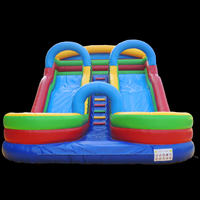 Double slideway inflatable slide