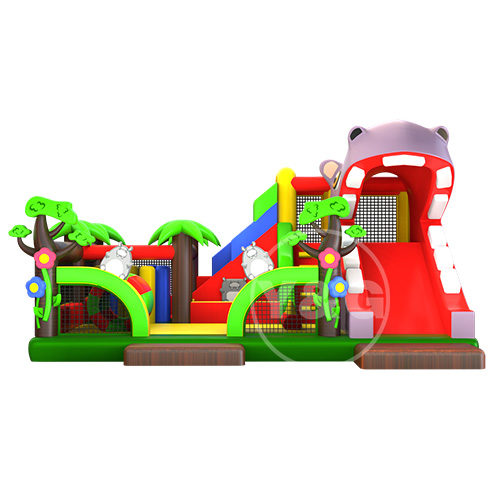 Funny Hippo jumping castle with slide03