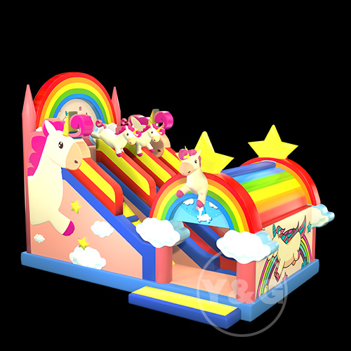 Pink unicorn inflatable slide