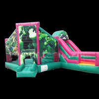 Green Man Combo Moonwalk Bouncer