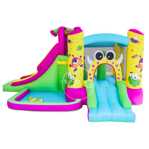 Inflatable space with obstacle and slide