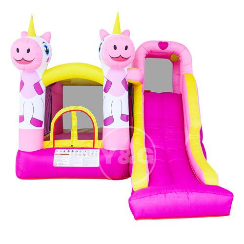 Pink unicorn bouncy castle