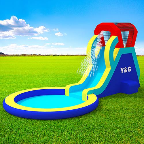 Small single slide with splash waterpool