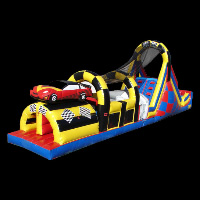 crazy car race inflatable obstacle