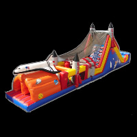 two tunnels inflatable course